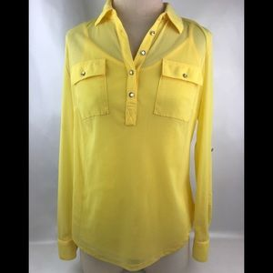 INC Yellow See Thru Long Sleeve Top with tank Sz M